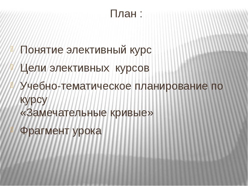 План : Понятие элективный курс Цели элективных курсов Учебно-тематическое пла...