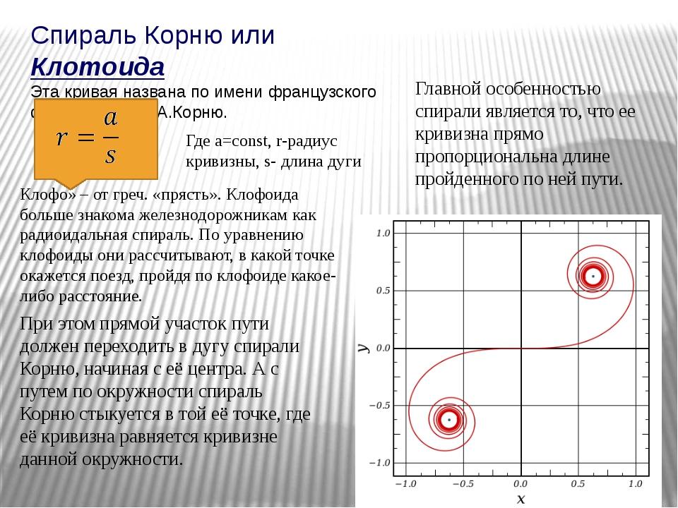 Спираль Корню или Клотоида Эта кривая названа по имени французского физика 19...