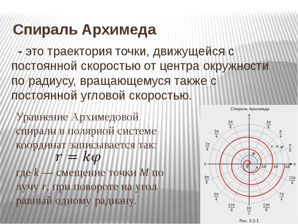 Спираль Архимеда - это траектория точки, движущейся с постоянной скоростью от...