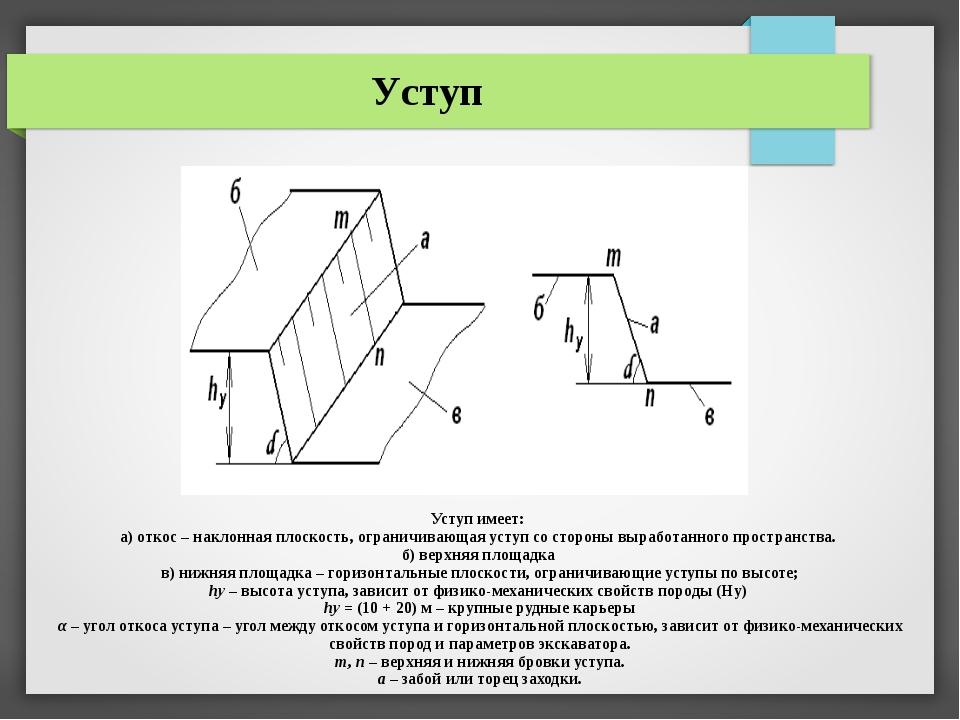 Уступ имеет: а) откос – наклонная плоскость, ограничивающая уступ со стороны...
