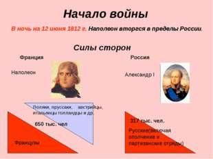Начало войны В ночь на 12 июня 1812 г. Наполеон вторгся в пределы России. Сил