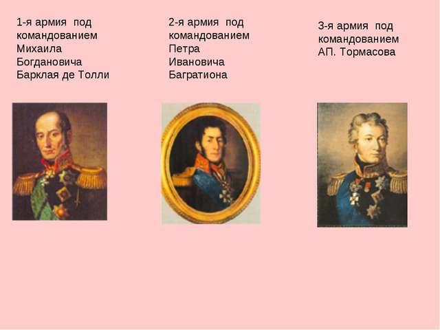 1-я армия под командованием Михаила Богдановича Барклая де Толли 2-я армия по...