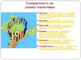 Толерантность на разных языка мира tolerance (французский) – отношение, при к