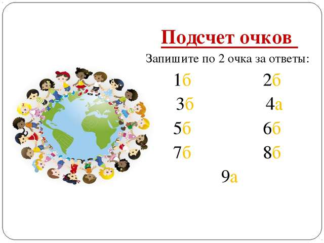 Подсчет очков Запишите по 2 очка за ответы: 1б 2б 3б 4а 5б 6б 7б 8б 9а
