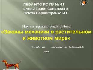 ГБОУ НПО РО ПУ № 61 имени Героя Советского Союза Вернигоренко И.Г. Научно-пр