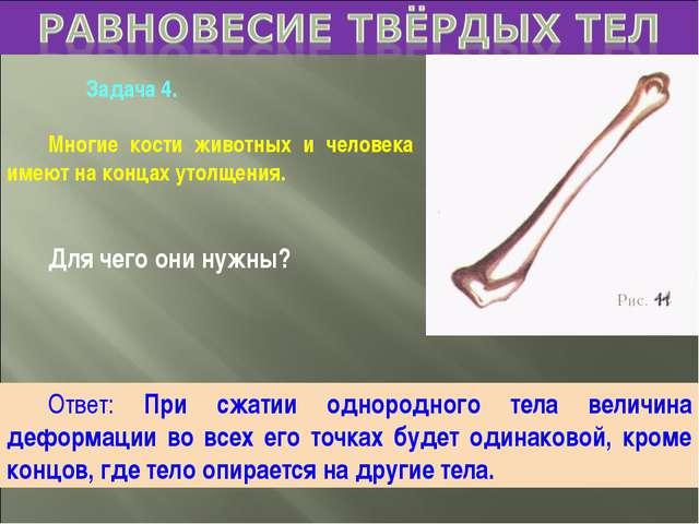 Задача 4. Многие кости животных и человека имеют на концах утолщения. Для че...