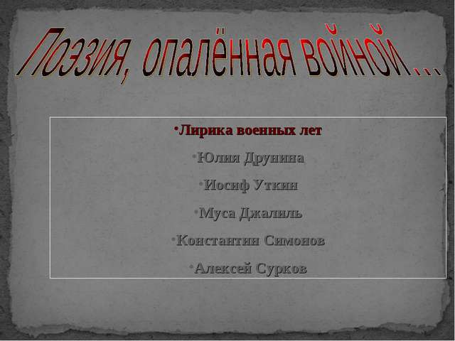 Лирика военных лет Юлия Друнина Иосиф Уткин Муса Джалиль Константин Симонов А...