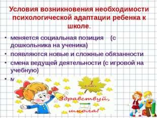 Условия возникновения необходимости психологической адаптации ребенка к школе