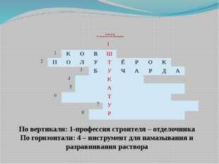 КРОССВОРД «Инструменты для штукатурных работ» 1 По вертикали: 1-профессия ст