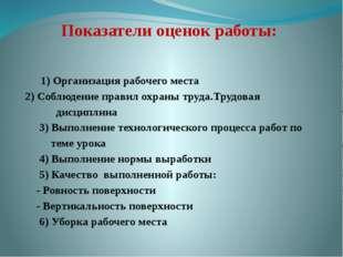 Показатели оценок работы:  1) Организация рабочего места 2) Соблюдение прав
