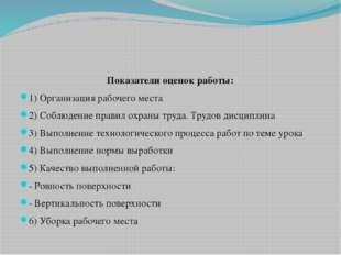 Показатели оценок работы: 1) Организация рабочего места 2) Соблюдение правил