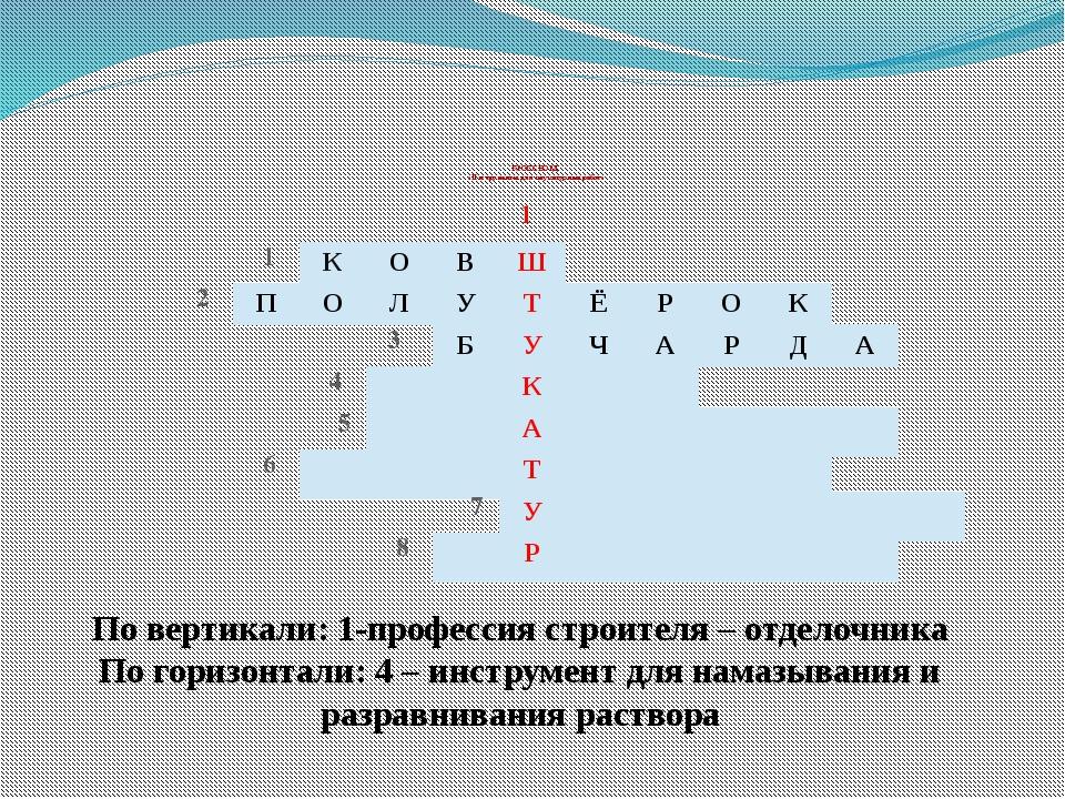 КРОССВОРД «Инструменты для штукатурных работ» 1 По вертикали: 1-профессия ст...