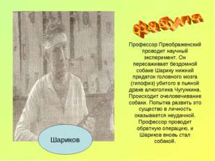 Профессор Преображенский проводит научный эксперимент. Он пересаживает бездом