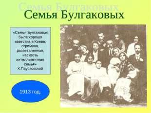 «Семья Булгаковых была хорошо известна в Киеве, огромная, разветвленная, наск