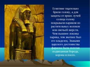 Египтяне тщательно брили голову, а для защиты от ярких лучей солнца голову по