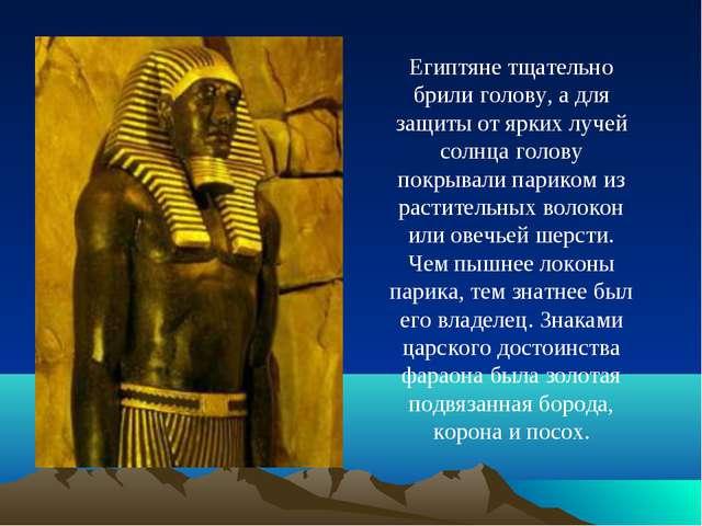 Египтяне тщательно брили голову, а для защиты от ярких лучей солнца голову по...