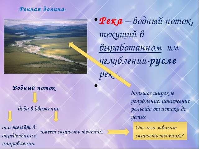 Речная долина- Река – водный поток, текущий в выработанном им углублении-русл...