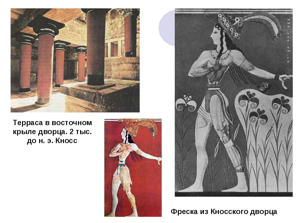 Терраса в восточном крыле дворца. 2 тыс. до н. э. Кносс Фреска из Кносского д...