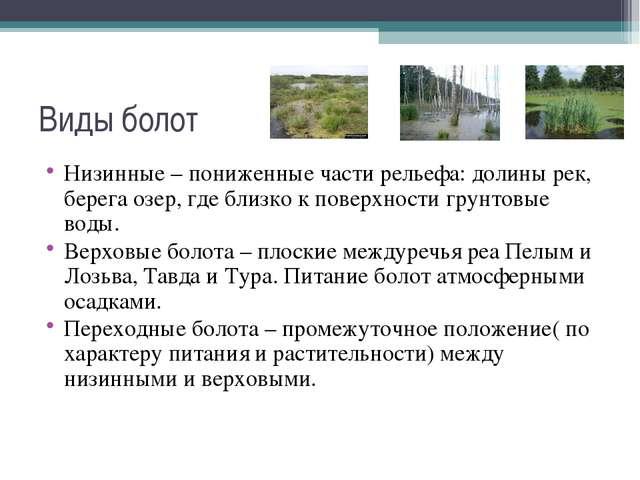Виды болот Низинные – пониженные части рельефа: долины рек, берега озер, где...