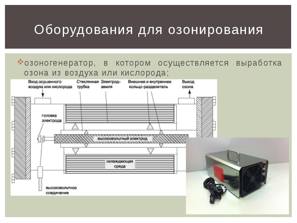 озоногенератор, в котором осуществляется выработка озона из воздуха или кисло...