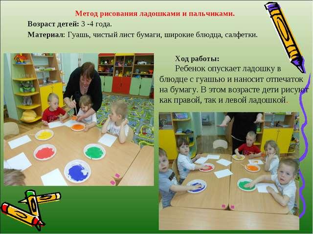 Метод рисования ладошками и пальчиками. Возраст детей: 3 -4 года. Материал: Г...