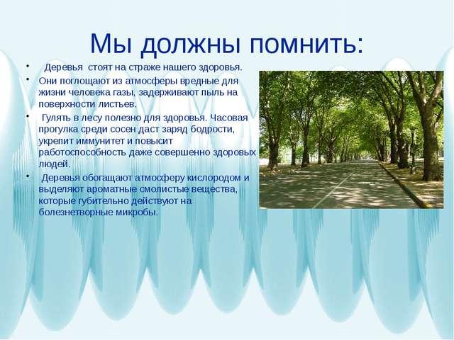 Мы должны помнить: Деревья стоят на страже нашего здоровья. Они поглощают из...