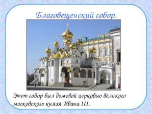 Благовещенский собор. Этот собор был домовой церковью великого московского к