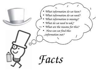 Facts What information do we have? What information do we need? What informa
