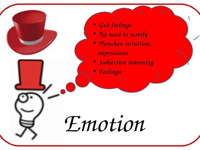 Emotion Gut feelings No need to justify Hunches, intuition, impressions Subj...
