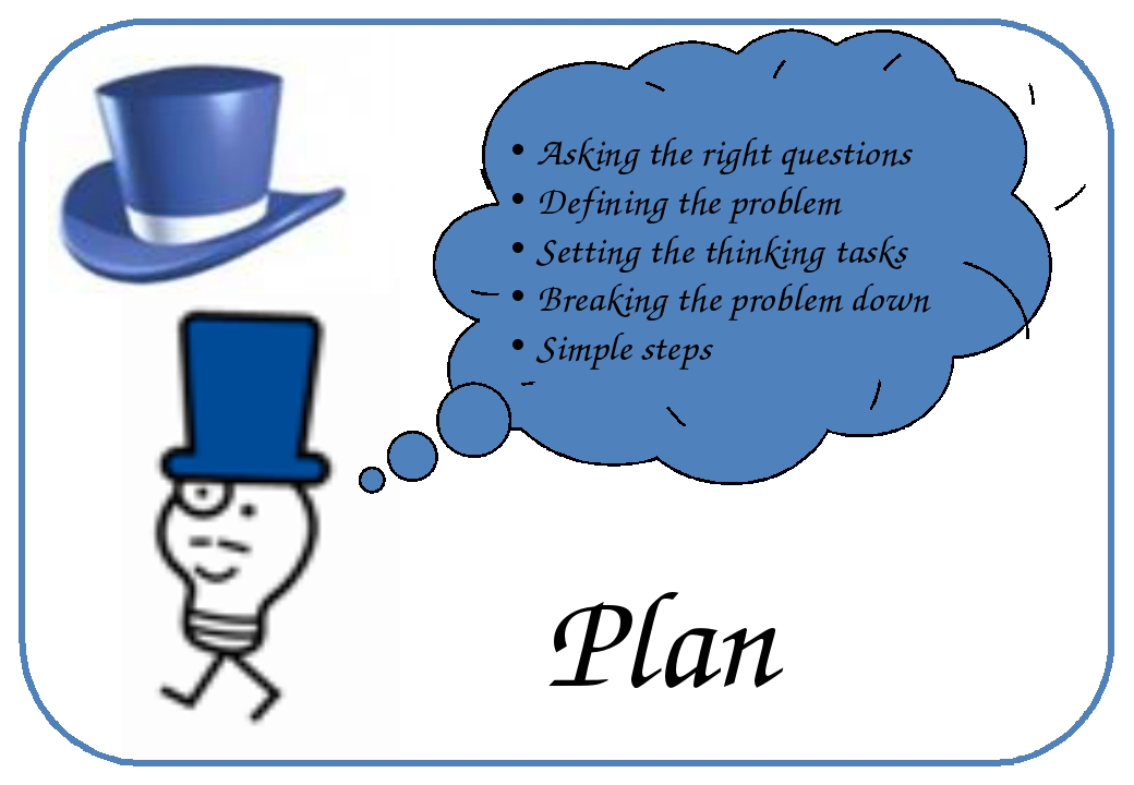Plan Asking the right questions Defining the problem Setting the thinking ta...