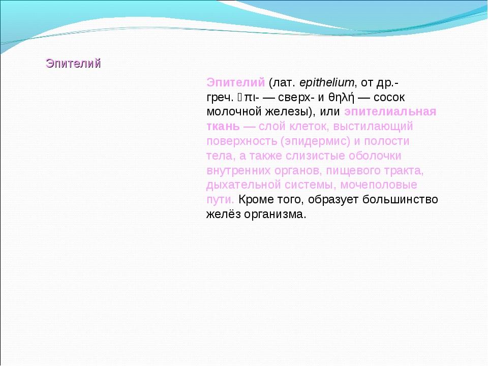 Эпителий(лат.epithelium, отдр.-греч.ἐπι-— сверх- иθηλή— сосок молочной...