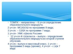 ТПМПК – направлены – 6 уч-ся определение образовательного маршрута. 2 уч-ся–