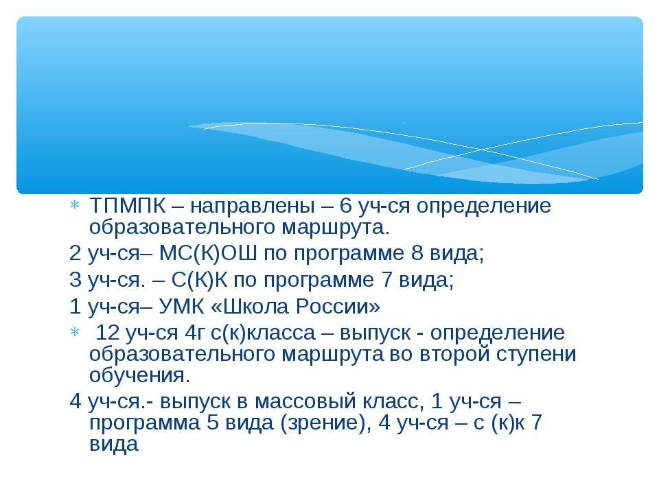 ТПМПК – направлены – 6 уч-ся определение образовательного маршрута. 2 уч-ся–...