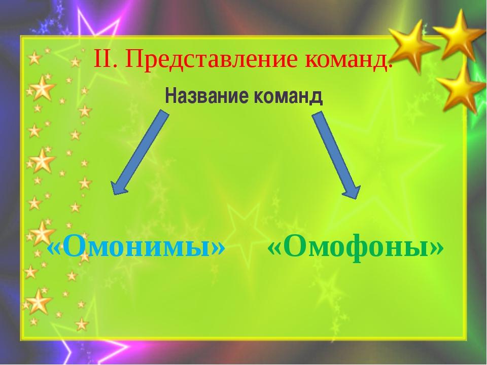 II. Представление команд. Название команд «Омонимы» «Омофоны»