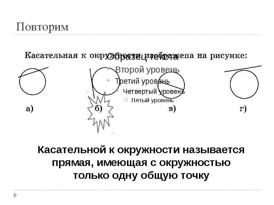 Повторим Касательной к окружности называется прямая, имеющая с окружностью то...