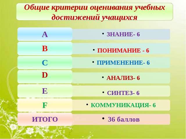 Общие критерии оценивания учебных достижений учащихся