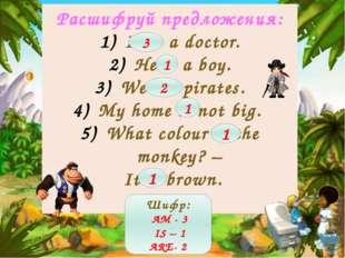Расшифруй предложения: I am a doctor. He is a boy. We are pirates. My home is