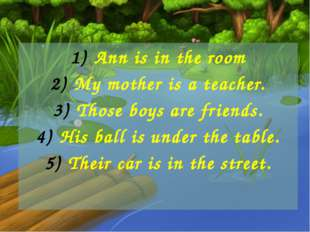 Ann is in the room My mother is a teacher. Those boys are friends. His ball