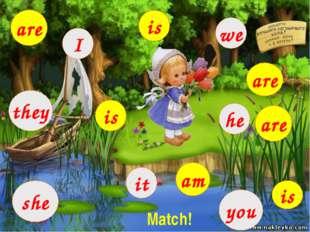 I they we it she he you am are is is is are are Match!