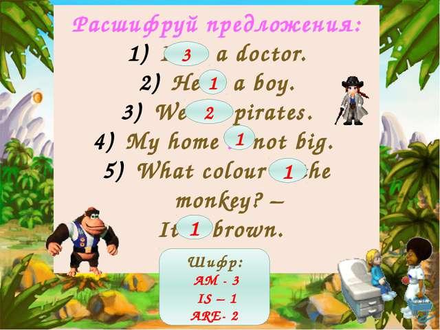 Расшифруй предложения: I am a doctor. He is a boy. We are pirates. My home is...