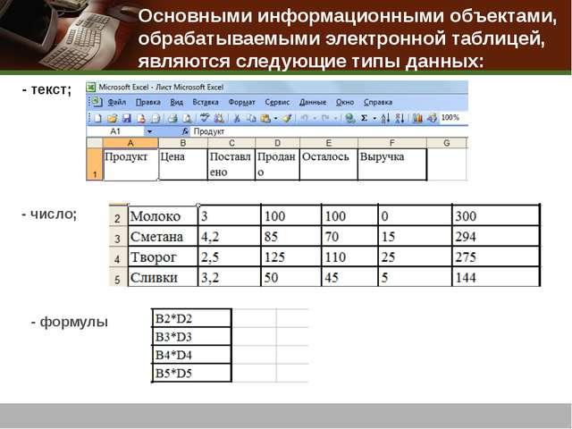 - текст; - число; - формулы Основными информационными объектами, обрабатываем...