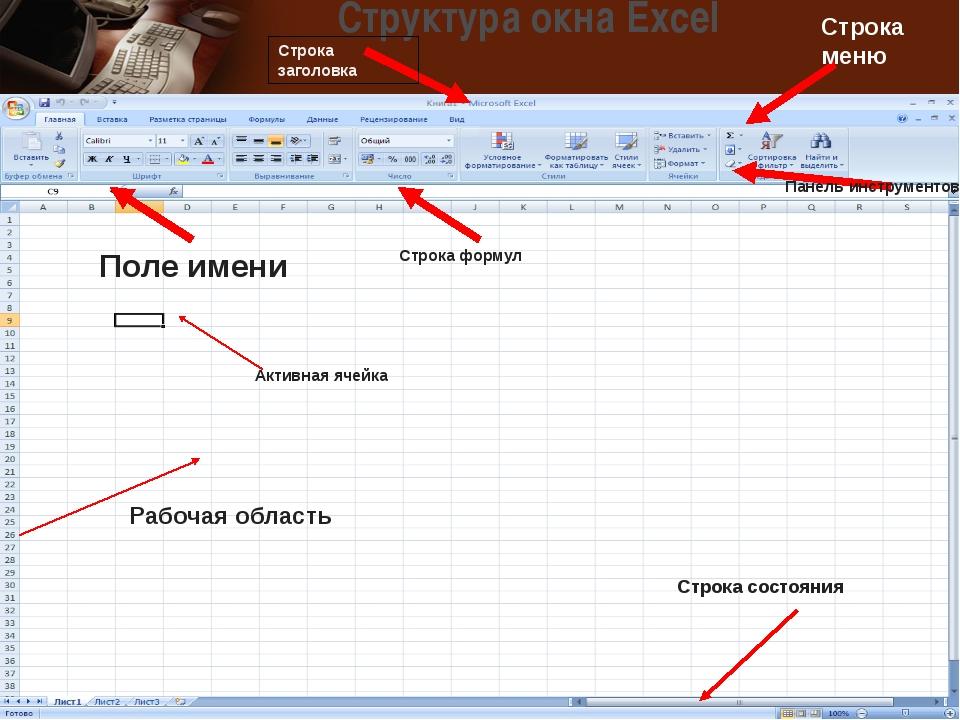 Структура окна Excel Строка заголовка Строка меню Панель инструментов Строка...