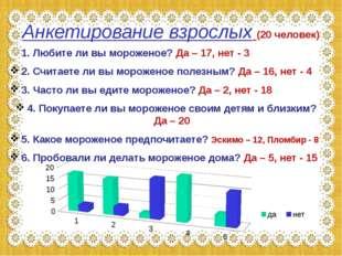 Анкетирование взрослых (20 человек) 1. Любите ли вы мороженое? Да – 17, нет