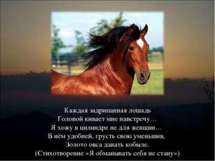 Каждая задрипанная лошадь Головой кивает мне навстречу… Я хожу в цилиндре не