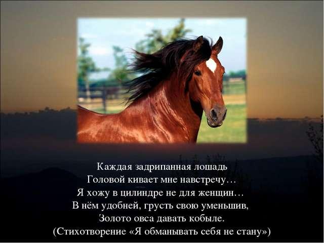Каждая задрипанная лошадь Головой кивает мне навстречу… Я хожу в цилиндре не...