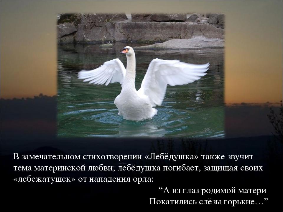 В замечательном стихотворении «Лебёдушка» также звучит тема материнской любви...