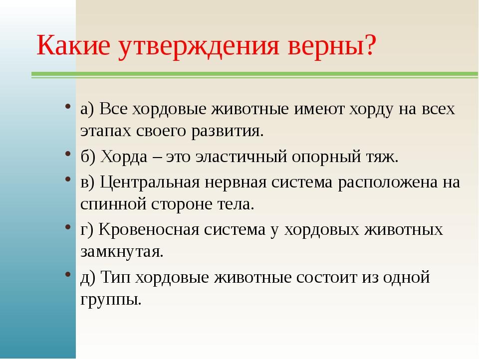 Какие утверждения верны? а) Все хордовые животные имеют хорду на всех этапах...