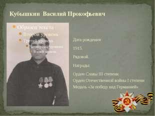 Дата рождения: 1915. Рядовой. Награды: Орден Славы III степени Орден Отечеств