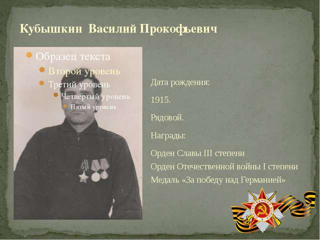 Дата рождения: 1915. Рядовой. Награды: Орден Славы III степени Орден Отечеств...