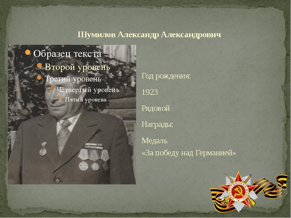 Год рождения: 1923 Рядовой Награды: Медаль «За победу над Германией» Шумилов...